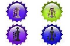 3d man with bulb on top icon Stock Photography