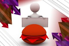 3d man burger ad illustration Stock Images