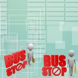 3d man with bus stop illustration Royalty Free Stock Photos