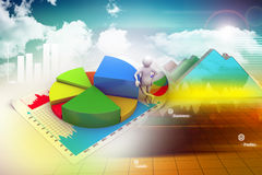3d man with business charts Stock Images