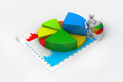 3d man with business charts. In white color background Royalty Free Stock Photo