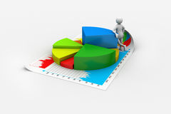 3d man with business charts. In white color background Stock Photos