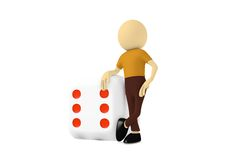3d man with business cube. In white background Royalty Free Stock Photo