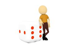 3d man with business cube. In white background Stock Photography