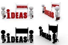 3d man business idea Concept Collections With Alpha And Shadow Channel Stock Images