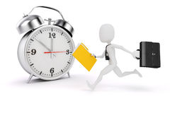 3d man business man and alarm clock. On white background Stock Photos
