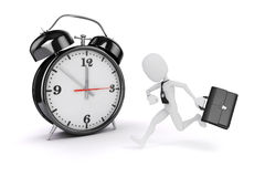 3d man business man and alarm clock. On white background Stock Images