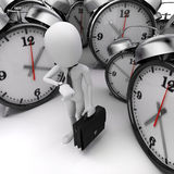 3d man business man and alarm clock. On white background Royalty Free Stock Photo