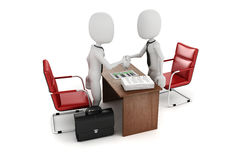 3d man, business meeting, job interview. On white background Stock Images