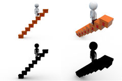 3d man business stairs concept collections with alpha and shadow channel Stock Photos