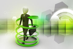 3d man business success concept. In color background Royalty Free Stock Photography