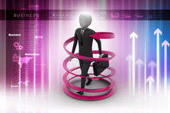 3d man business success concept. In color background Stock Photography