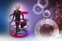 3d man business success concept. In color background Stock Photos