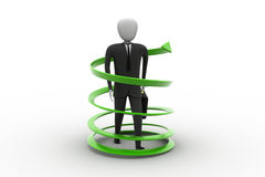 3d man business success concept. In white background Royalty Free Stock Images