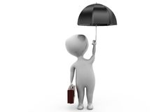 3d man business umbrella concept Stock Photography