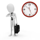 3d man businessman and clock Royalty Free Stock Image