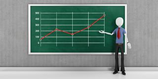 3d man businessman with finance business graph  on blackboard Stock Photo