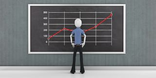 3d man businessman with finance business graph  on blackboard. 3d man businessman with finance business graph Royalty Free Stock Image