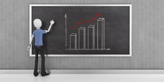 3d man businessman with finance business graph  on blackboard. 3d man businessman with finance business graph Royalty Free Stock Photo