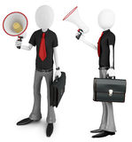 3d man businessman with a megaphone. On white background Royalty Free Stock Image
