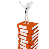 3d man businessman on a pile of blank documents. 3d man businessman happy on a pile of blank documents Royalty Free Stock Photography