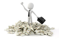 3d man businessman standing in the middle of stack of money. On white background Stock Photos