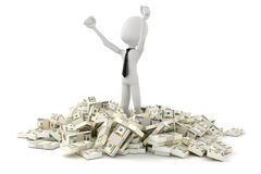 3d man businessman standing in the middle of stack of money. On white background Royalty Free Stock Photography