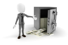 3d man businessman and steal vault Royalty Free Stock Image