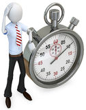 3d man businessman with stopwatch. On white background Stock Images