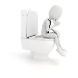 3d man businessman on the toilet seat Royalty Free Stock Image