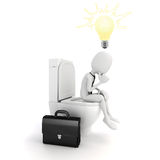 3d man businessman on the toilet seat Stock Image