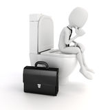 3d man businessman on the toilet seat Stock Images