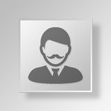 3D Man Button Icon Concept Royalty Free Stock Image