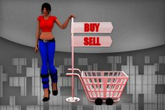 3d man buy and sell illustration Royalty Free Stock Photography