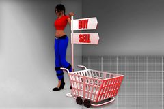 3d man buy and sell illustration Royalty Free Stock Images