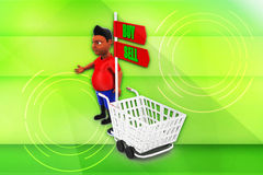3d man buy and sell illustration Stock Photos