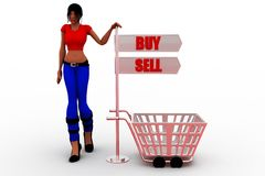 3d man buy and sell illustration Stock Photography