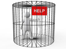 3d man in cage asking for help Royalty Free Stock Images