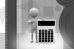 3d man calculator illustration Royalty Free Stock Photography
