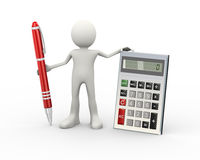 3d man with calculator and pen. 3d illustration of man standing with calculator and pen. 3d human person character and white people Stock Photos