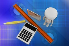 3d man Calculator Scale Pen Illustration Stock Image