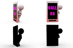 3d man call us concept collections with alpha and shadow channel Royalty Free Stock Images