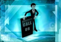 3d man call us concept Stock Photography