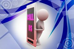 3d man call us  illustration Stock Image