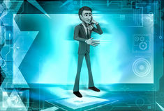 3d man calling  illustration Stock Images