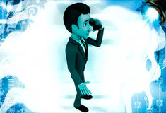 3d man calling with telephonic reciever illustration Stock Photo