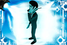 3d man calling with telephonic reciever illustration Stock Image
