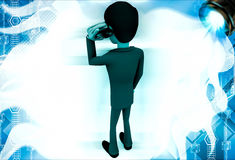 3d man calling with telephonic reciever illustration Royalty Free Stock Photos