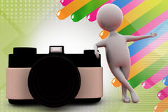 3d man with camera  illustration Stock Photography