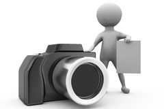 3d man with camera and note concept Royalty Free Stock Photography